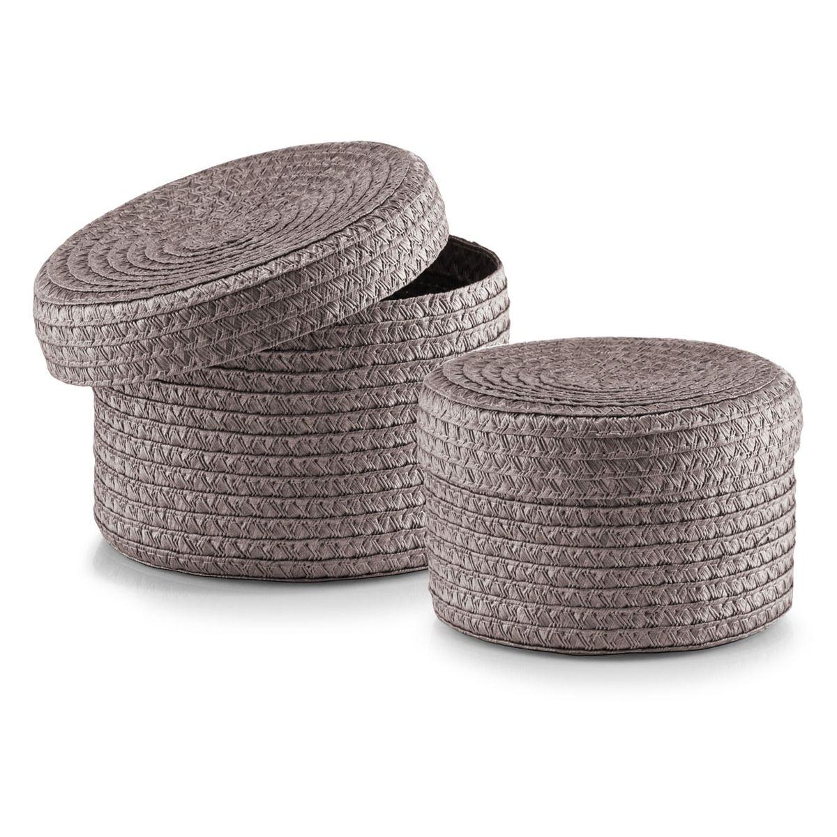 Набор корзин Zeller с крышками, цвет: серо-коричневый, 2 шт14122Набор Zeller состоит из двух корзин разного размера. Корзинки изготовлены из текстиля и оснащены крышками. Изделия идеально подходят для упаковки подарков, цветочных композиций и подарочных наборов, для хранения различных вещей и аксессуаров. Так же они являются прекрасным декоративным элементом интерьера. Такие корзины будут создавать уют и комфорт в вашем доме и станут отличным подарком. Диаметр корзин: 16 см, 17 см. Высота корзин: 10 см, 12 см.