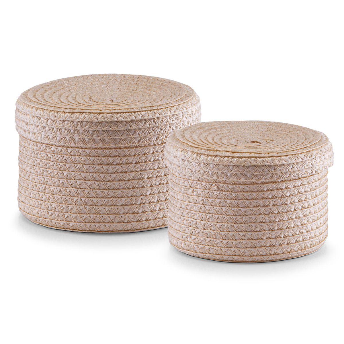 Набор корзин Zeller с крышками, цвет: бежевый, 2 шт14123Набор Zeller состоит из двух корзин разного размера. Корзинки изготовлены из текстиля и оснащены крышками. Изделия идеально подходят для упаковки подарков, цветочных композиций и подарочных наборов, для хранения различных вещей и аксессуаров. Так же они являются прекрасным декоративным элементом интерьера. Такие корзины будут создавать уют и комфорт в вашем доме и станут отличным подарком. Диаметр корзин: 16 см, 17 см. Высота корзин: 10 см, 12 см.