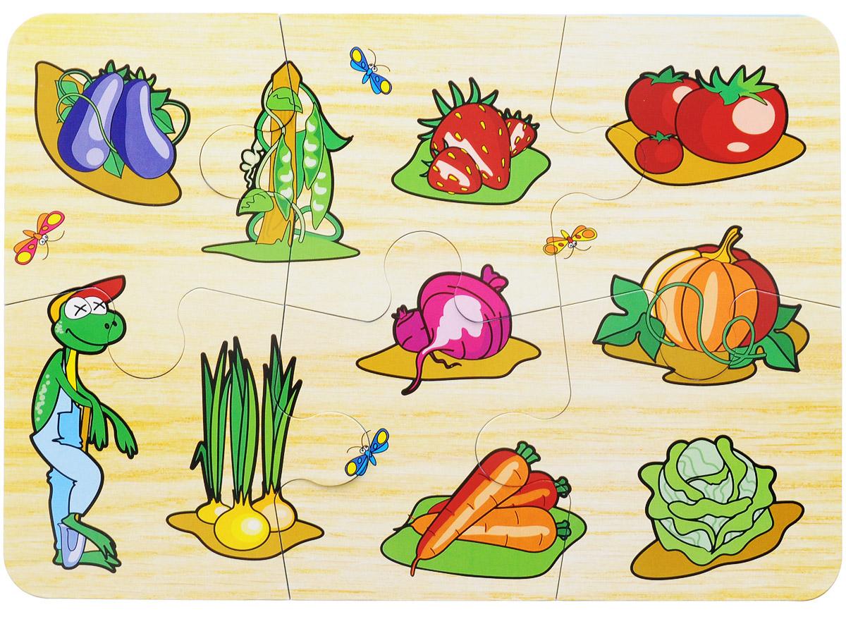 Бомик Пазл для малышей Огород756Красочный пазл Огород - наилучшее решение для развития вашего малыша. Собирая картинку из 6 элементов с изображением овощей и фруктов, малыш учится соотносить отдельные элементы в целое изображение, подбирать фрагменты по цвету и форме. Элементы пазла изготовлены из вспененного полимера ЭВА с картонным покрытием, благодаря чему ребенку будет удобно собирать картинку. Мягкий пазл поможет развить у малыша мелкую моторику рук, цветовосприятие, воображение и логическое мышление, научит видеть большое в малом. Вознаграждением за усердие будет красочное мозаичное панно.