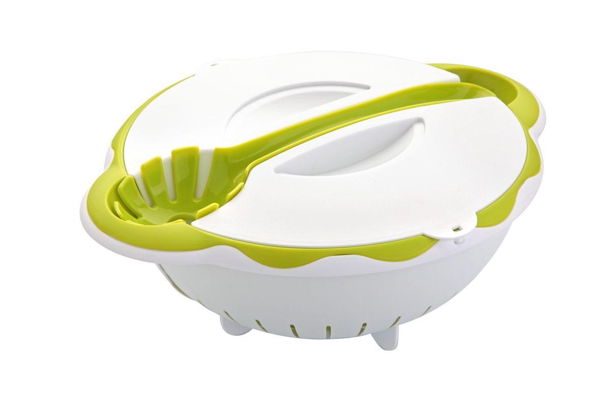 Набор для салатов и пасты 2 в 1 AxonА-602Набор для приготовления и хранения салатов, пасты и других блюд. В комплекте: легкий дуршлаг с удобными ручками, кулинарная ложка для сервировки готовых салатов и макаронных изделий. Может использоваться как контейнер.