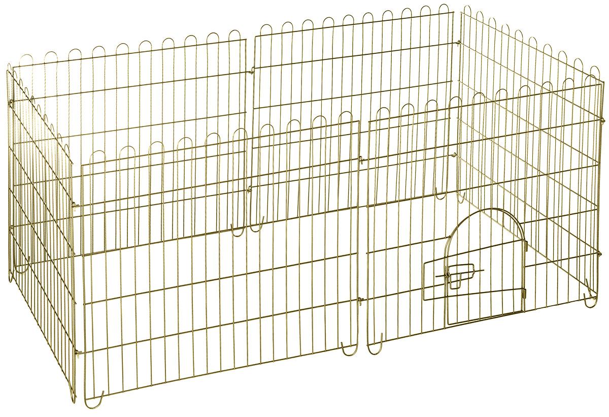 Вольер для животных ЗооМарк, разборный, 6 секций1002Вольер для животных ЗооМарк, выполненный из металла, состоит из 6 секций, одна из которых снабжена металлической дверцей с запором-задвижкой. Чтобы собрать вольер, нужно вставить штыри, расположенные с боковых сторон секций, в кольца, имеющиеся по бокам. Из панелей можно собрать ограждение для вашего питомца любой формы, используя для этого необходимое количество секций. Секции могут состыковаться друг с другом под любым углом. Вольер предназначен для собак, а также других животных. Подходит для отдыха на природе и ограничения передвижения по участку. В сложенном виде занимает очень мало места, удобен для транспортировки. Размер секции: 75 х 74 см. Расстояние между прутьями: 3,7 см.