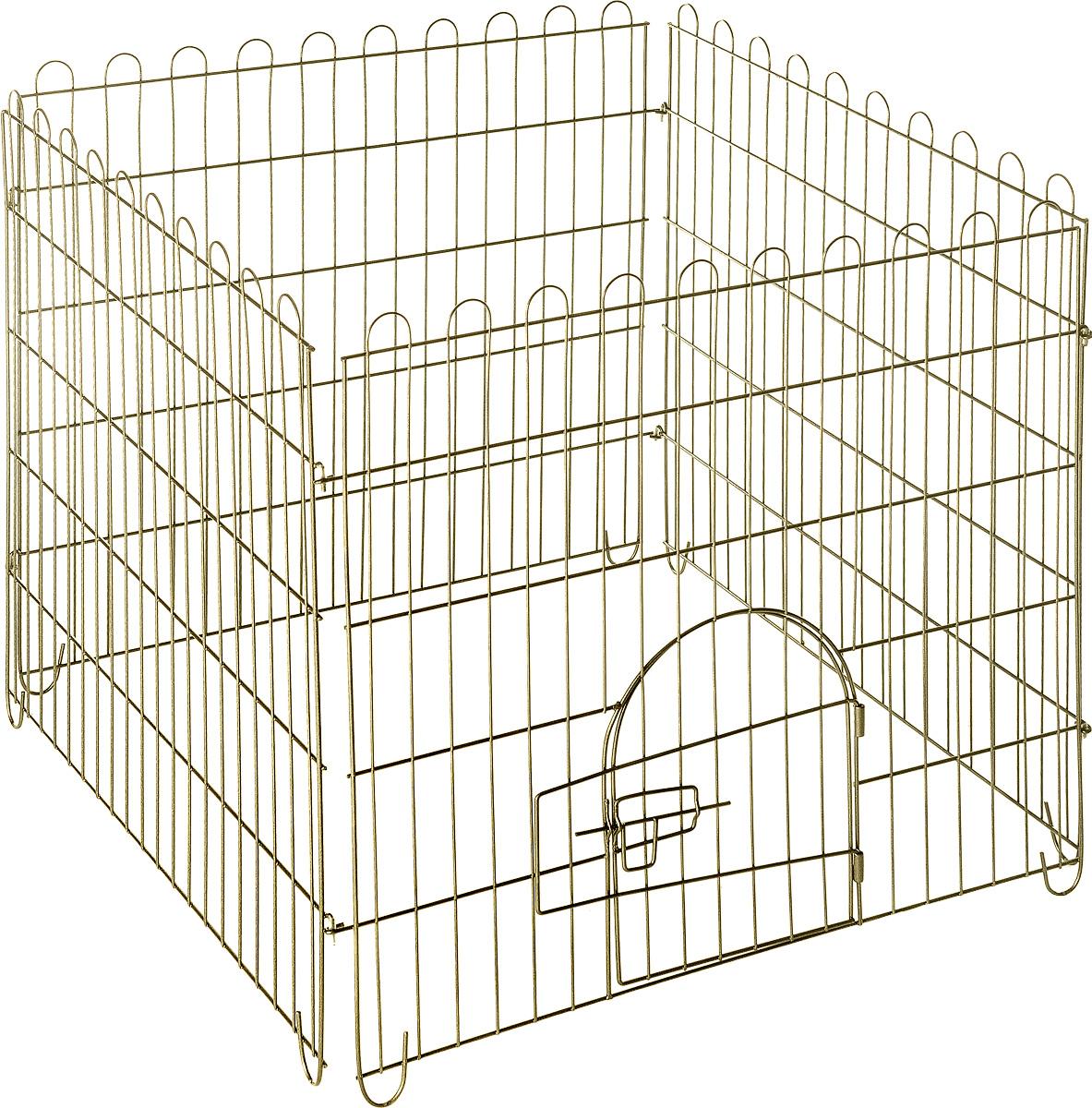 Вольер для животных ЗооМарк, разборный, 4 секции, 75 х 75 х 74 см1001Вольер для животных ЗооМарк, выполненный из металла, состоит из 4 секций, одна из которых снабжена металлической дверцей с запором-задвижкой. Чтобы собрать вольер, нужно вставить штыри, расположенные с боковых сторон секций, в кольца, имеющиеся по бокам. Из панелей можно собрать ограждение для вашего питомца любой формы, используя для этого необходимое количество секций. Секции могут состыковаться друг с другом под любым углом. Вольер предназначен для собак, а также других животных. Подходит для отдыха на природе и ограничения передвижения по участку. В сложенном виде занимает очень мало места, удобен для транспортировки. Размер вольера: 75 х 75 х 74 см. Размер секции: 75 х 74 см. Расстояние между прутьями: 3,7 см.