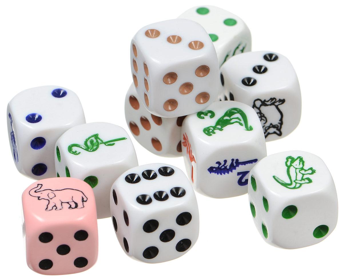 Pandoras Box Набор кубиков С животными 10 шт02KG155Набор Pandoras Box состоит из десяти игральных кубиков. В наборе присутствуют кубики белого цвета и один - розового. Кубики имеют стандартную квадратную форму. На стороны кубиков нанесены точки от 2 до 6. Вместо одного кружочка, на кубиках нанесено изображение животного: слон, сова, рак и т.д. На одном из кубиков все стороны имеют картинки с животными-динозаврами. Рисунки и точки нанесены разными цветами. На трех кубиках черным цветом, на трех - зеленым, на двух - коричневым и на одном кубике синяя расцветка. На кубике с динозаврами присутствуют разные цвета. Набор выполнен из прочного безопасного пластика.