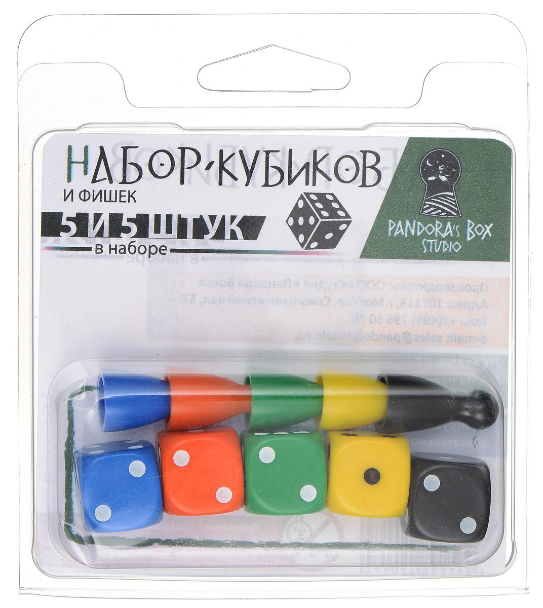 Pandora's Box Набор фишек и кубиков для настольных игр бродилок 5 фишек + 5 кубиков