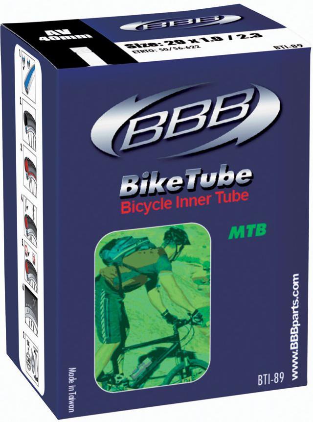 Велокамера BBB 29 in 1.9/2.3 AV 40mm. BTI-89BTI-89Камеры BBB изготовлены из долговечного резинового компаунда. Никаких швов, которые могут пропускать воздух. Толщина стенки: 0.87 мм. Достаточно большая для защиты от проколов и достаточно небольшая для снижения веса.