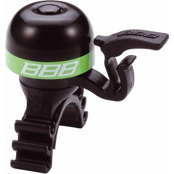 Звонок велосипедный BBB MiniFit, цвет: черный, зеленыйBBB-16Легкий звонок BBB MiniFit выполнен из латуни и оснащен пластиковыми пружиной и молоточком. Можно устанавливать в любом положении. Простое крепление подходит ко всем диаметрам рулей. Звонок легко ставить и снимать.