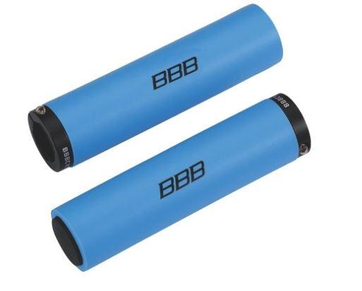 Грипсы BBB StickyFix, 130 мм, цвет: синий. BHG-35BHG-35Легкие силиконовые грипсы с алюминиевыми хомутами для фиксации. Винтовой хомут исключает проворачивание грипсы на руле. Силикон обеспечивает отличную хватку и виброгашение. В комплекте две заглушки руля. Вес: 108г. Длина: 128мм.