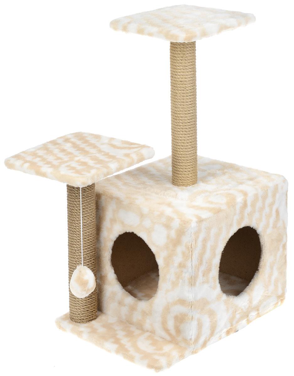 Игровой комплекс для кошек Меридиан, с домиком и когтеточкой, цвет: белый, бежевый, 45 х 47 х 75 смД131 ЦвИгровой комплекс для кошек Меридиан выполнен из высококачественного ДВП и ДСП и обтянут искусственным мехом. Изделие предназначено для кошек. Ваш домашний питомец будет с удовольствием точить когти о специальный столбик, изготовленный из джута. А отдохнуть он сможет либо на полках разной высоты, либо в расположенном внизу домике. Также комплекс оснащен подвесной игрушкой, которая привлечет вашего питомца. Общий размер: 45 х 47 х 75 см. Размер домика: 45 х 36 х 32 см. Высота полок (от пола): 75 см, 45 см. Размер полок: 26 х 26 см.