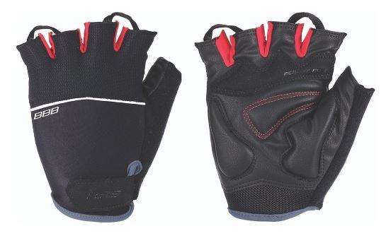 Перчатки велосипедные BBB Omnium, цвет: черный, красный. BBW-47. Размер LBBW-47Скроены с учетом особенностей строения женских рук. Стильные перчатки с эластичной тыльной стороной из лайкры и сетчатого материала. Комфортная ладонь из материала clarino и вставкой из материала с эффектом памяти. Вставка для удаления влаги/пота. Застежки велькро (Система WristLock)