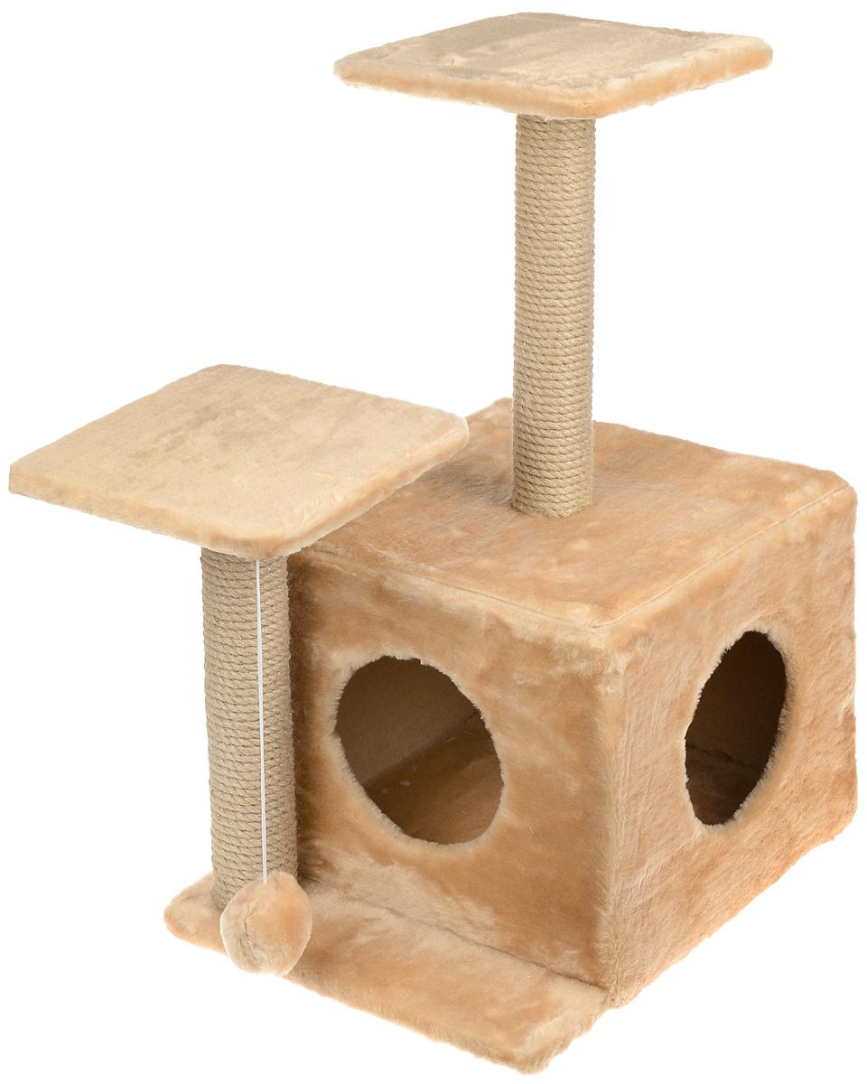 Игровой комплекс для кошек Меридиан, с домиком и когтеточкой, цвет: светло-коричневый, бежевый, 45 х 47 х 75 смД131 СКИгровой комплекс для кошек Меридиан выполнен из высококачественного ДВП и ДСП и обтянут искусственным мехом. Изделие предназначено для кошек. Ваш домашний питомец будет с удовольствием точить когти о специальный столбик, изготовленный из джута. А отдохнуть он сможет либо на полках разной высоты, либо в расположенном внизу домике. Также комплекс оснащен подвесной игрушкой, которая привлечет вашего питомца. Общий размер: 45 х 47 х 75 см. Размер домика: 45 х 36 х 32 см. Высота полок (от пола): 75 см, 45 см. Размер полок: 26 х 26 см.