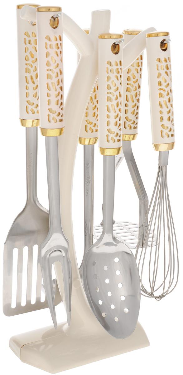 Набор кухонных принадлежностей Mayer & Boch, 7 предметов. 2201322013Набор кухонных принадлежностей Mayer & Boch состоит из вилки, шумовки, венчика, половника, лопатки, пресса для картофеля и подставки. Предметы набора выполнены из нержавеющей стали и пластика. Набор Mayer & Boch подчеркнет неповторимый дизайн вашей кухни и превратит приготовление еды в настоящее удовольствие. Размер подставки: 14,5 х 8 х 38 см. Длина половника: 32 см. Длина шумовки: 31,5 см. Длина пресса для картофеля: 23,5 см. Длина лопатки: 33,5 см. Длина вилки: 32,5 см. Длина венчика: 29,5 см.