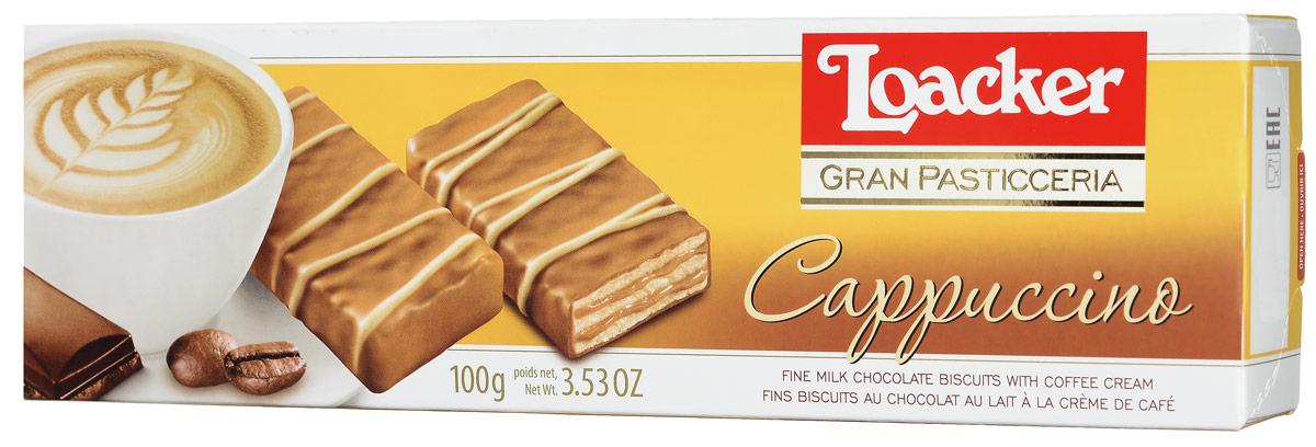 Loacker Гран Пастицерия Капучино печенье, 100 г10398-005Loacker Гран Пастицерия Капучино - ароматное печенье для любителей кофе. Насладитесь частицей Dolce Vita в итальянском стиле! Поддайтесь сливочному искушению очень тонких вафель, нежнейших кофейных сливок и изысканному слою лучшего молочного шоколада с декором из белого шоколада.