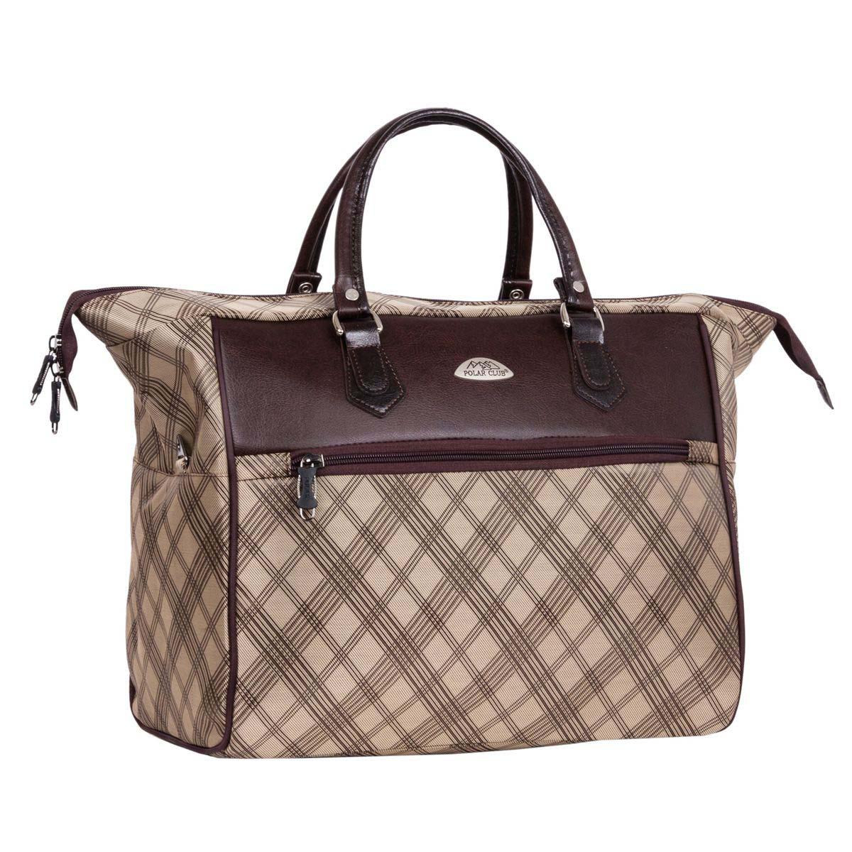 Сумка дорожная Polar, 26,5 л, цвет: коричневый. 70637063Дорожная сумка-саквояж фирмы Polar. Красивая, удобная и вместительная. Очень удобный вход в основное отделение. Стенки и дно — жесткие. Ручки отделаны искусственной кожей. В комплекте есть съемный, регулируемый плечевой ремень. Высота ручек 13 см.