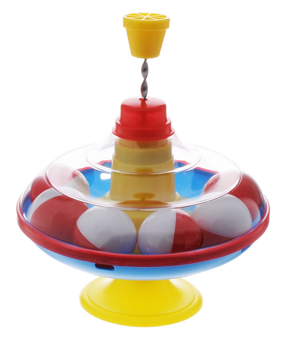 Stellar Юла с шариками цвет желтый голубой красный1320_шарикиЯркая юла Stellar станет для вашего малыша любимой игрушкой. Юла выполнена из безопасного пластика в яркой цветовой гамме и дополнена устойчивой ножкой-подставкой. Внутри находятся шесть красно-белых шариков. Стоит раскрутить юлу, нажав на ручку, и шарики вокруг центра игрушки завертятся веселым хороводом! Юла - динамическая игрушка для самых маленьких, которая стимулирует познавательную активность, развивает наглядно-действенное мышление, координацию движений и мелкую моторику рук. Порадуйте своего непоседу таким великолепным подарком!