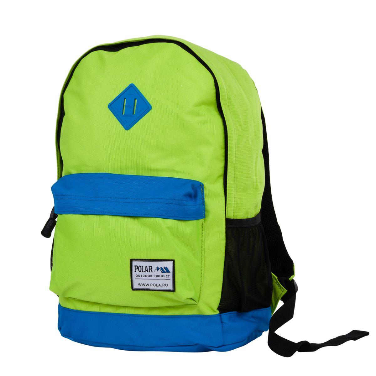 Рюкзак городской Polar, 22,5 л, цвет: зеленый, синий. 1500815008Вместительный городской рюкзак фирмы Polar имеет мягкую поролоновую спинку и мягкие лямки. Рюкзак имеет одно отделение, которое закрывается на молнию. Внутри карман на молнии и отделение под планшет или ноутбук до 14. Спереди объемный карман для небольших предметов. По бокам два кармана из сетчатого материала на резинке.