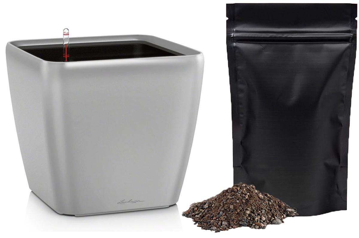 Кашпо с автополивом Lechuza Quadro 28х26 см, серебро LS + ПОДАРОК: Универсальный цветочный грунт In-Terra, объем 4 л16148_подарокЭлегантная ручка цвета самого кашпо украшает все наборы Все-в-одном кашпо серии QUADRO. Она не только красиво смотрится, но и обеспечивает возможность легкой замены растений. Особые преимущества: - Запатентованный внутренний горшок - Ручка цвета горшка не только практична, но еще и дополнительно подчеркивает изящный дизайн кашпо