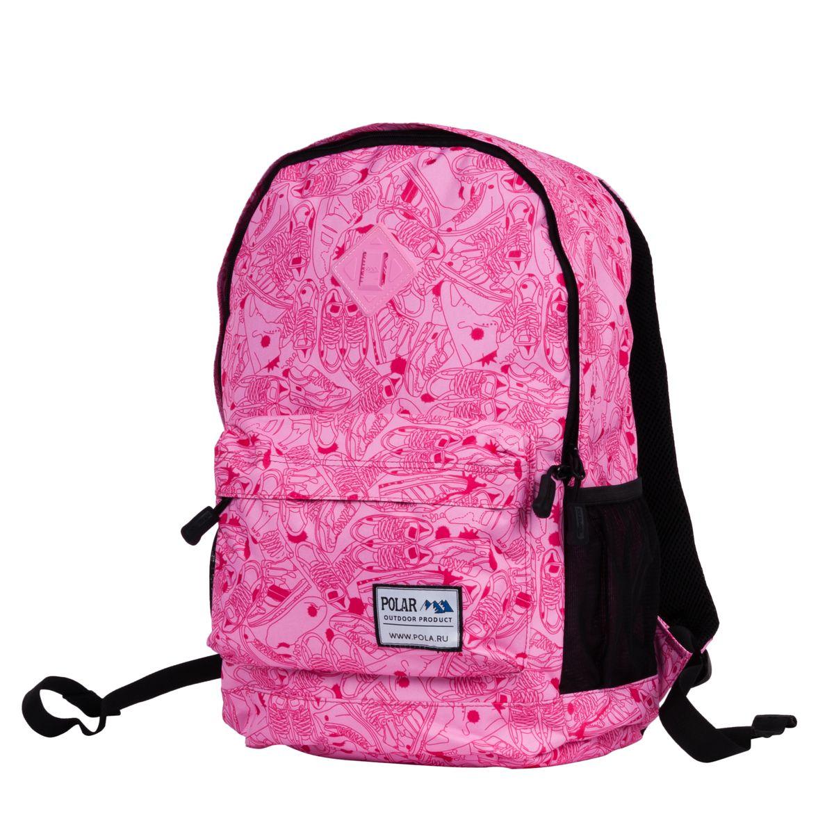 Рюкзак городской Polar, 22,5 л, цвет: светло-розовый. 1500815008Вместительный городской рюкзак фирмы Polar имеет мягкую поролоновую спинку и мягкие лямки. Рюкзак имеет одно отделение, которое закрывается на молнию. Внутри карман на молнии и отделение под планшет или ноутбук до 14. Спереди объемный карман для небольших предметов. По бокам два кармана из сетчатого материала на резинке.