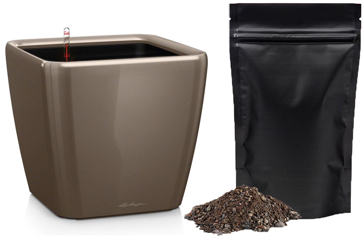 Кашпо с автополивом Lechuza Quadro 28х26 см, серо-коричневое LS + ПОДАРОК: Универсальный цветочный грунт