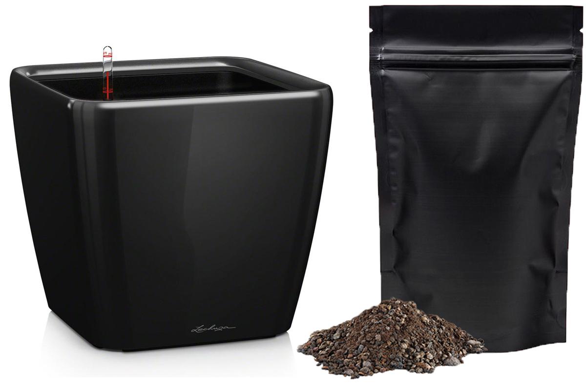 Кашпо с автополивом Lechuza Quadro 21х20 см, черное LS + ПОДАРОК: Универсальный цветочный грунт In-Terra, объем 4 л16129_подарокЭлегантная ручка цвета самого кашпо украшает все наборы Все-в-одном кашпо серии QUADRO. Она не только красиво смотрится, но и обеспечивает возможность легкой замены растений. Особые преимущества: - Запатентованный внутренний горшок - Ручка цвета горшка не только практична, но еще и дополнительно подчеркивает изящный дизайн кашпо