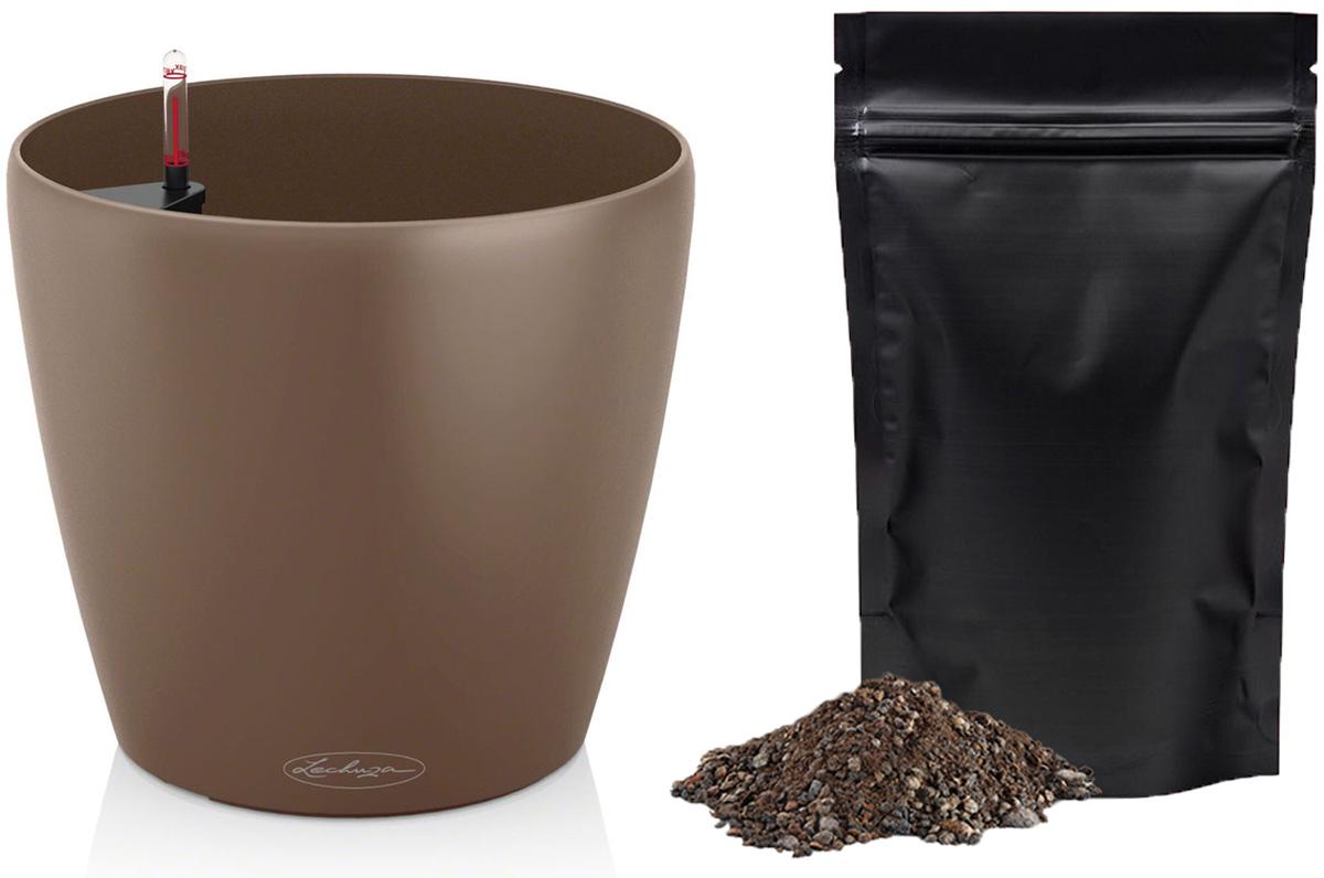 Кашпо с автополивом Lechuza Color Classico 28х26 см, мускатный орех + ПОДАРОК: Универсальный цветочный грунт In-Terra, объем 4 л13203_подарокТеплый мускатный цвет прекрасно комбинируется в виде контраста с черным или белым. Гранатовый цвет отлично расставляет акценты в скромной обстановке. Цвет, который можно применять в разных ситуациях – серый, отлично комбинируется как с яркими, так и со скромными цветами. В набор Все-В-Одном входят: система автополива LECHUZA с субстратом LECHUZA-PON в качестве дренажа.