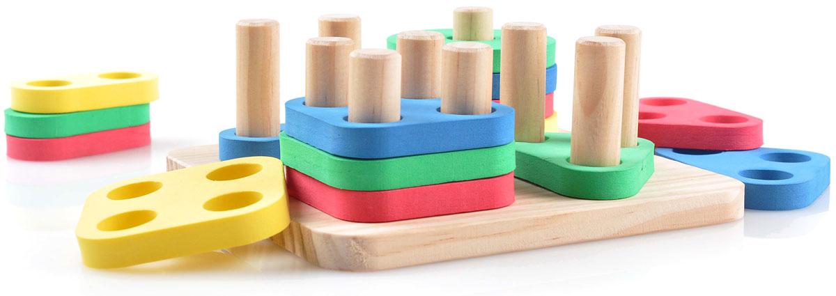 Мир деревянных игрушек Обучающая игра Логический квадратД020Развивающая игра Логический квадрат надолго займет внимание вашего ребенка. Игра выполнена в виде деревянной основы с десятью деревянными столбиками и 16 геометрическими фигурами синего, желтого, красного и зеленого цветов в форме треугольника, круга, прямоугольника и квадрата. Количество столбиков соответствует количеству отверстий на фигурках, малышу не сложно будет разобраться какая фигурка, к какому столбику относится. Развивающая игра Логический квадрат способствует развитию цветовосприятия, развитию координации движения, точности, логического мышления и мелкой моторики рук.