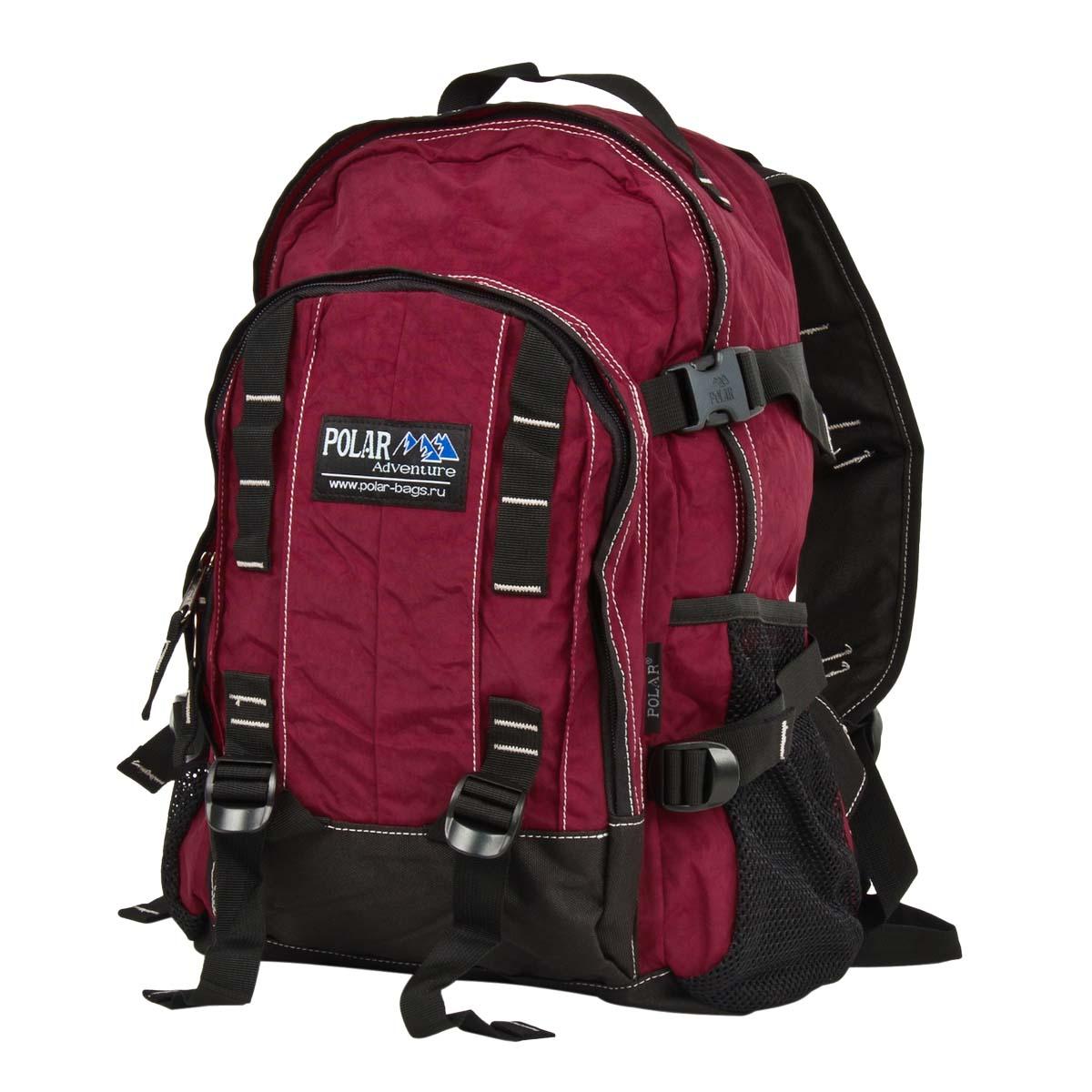 Рюкзак городской Polar, 29 л, цвет: бордовый. П876-14П876-14Городской рюкзак с модным дизайном. Полностью вентилируемая и удобная мягкая спинка, мягкие плечевые лямки создают дополнительный комфорт при ношении. Центральный отсек для персональных вещей и документов A4 на двухсторонних молниях для удобства. Маленький карман для mp3, CD плеера. Два боковых кармана под бутылки с водой на резинке. Система циркуляции воздуха Air. Материал Polyester.