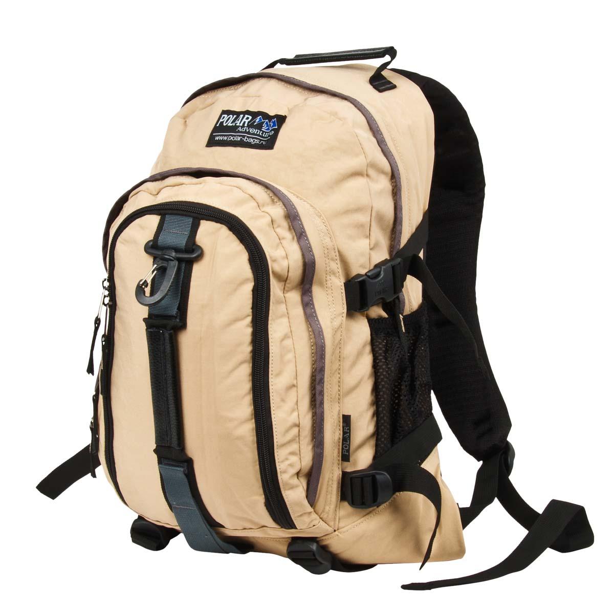 Рюкзак городской Polar, 21 л, цвет: бежевый. П955-13П955-13Городской рюкзак с модным дизайном. Полностью вентилируемая и удобная мягкая спинка, мягкие плечевые лямки создают дополнительный комфорт при ношении. Центральный отсек для персональных вещей и документов A4 на двухсторонних молниях для удобства. Маленький карман для mp3, CD плеера. Два боковых кармана под бутылки с водой на резинке. Регулирующая грудная стяжка с удобным фиксатором. Регулирующий поясной ремень, удерживает плотно рюкзак на спине, что очень удобно при езде на велосипеде или продолжительных походах. Система циркуляции воздуха Air. Материал Polyester.