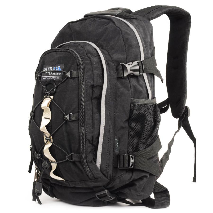 Рюкзак городской Polar, 27 л, цвет: черный. П1956-05П1956-05Городской рюкзак с модным дизайном. Полностью вентилируемая и удобная мягкая спинка, мягкие плечевые лямки создают дополнительный комфорт при ношении. Центральный отсек для персональных вещей и документов A4 на двухсторонних молниях для удобства. Маленький карман для mp3, CD плеера. Петли для снаряжения дают возможность крепления на рюкзак дополнительного оборудования. Два боковых кармана под бутылки с водой на резинке. Регулирующая грудная стяжка с удобным фиксатором. Регулирующий поясной ремень, удерживает плотно рюкзак на спине, что очень удобно при езде на велосипеде или продолжительных походах. Система циркуляции воздуха Air. Материал Polyester.
