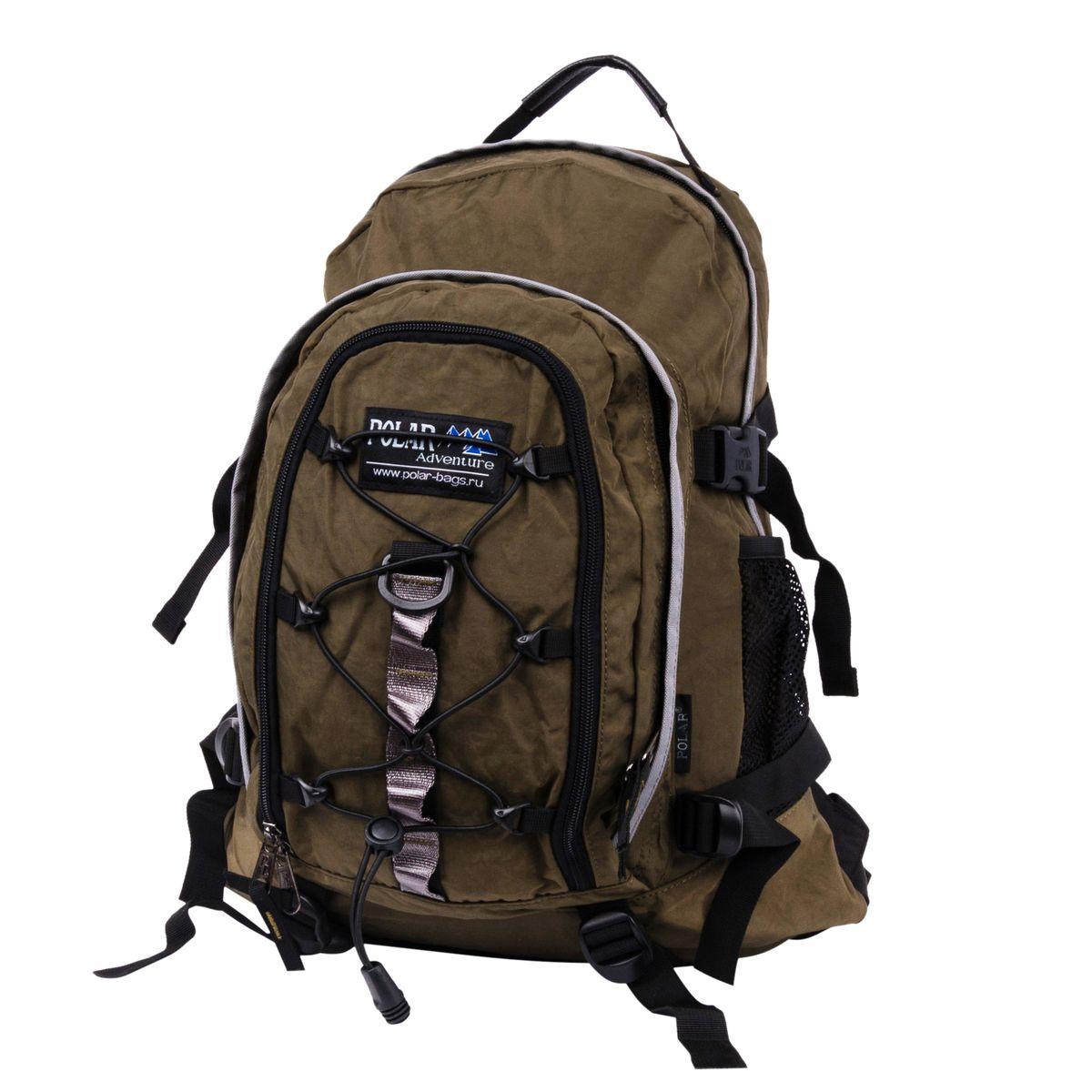Рюкзак городской Polar, 27 л, цвет: темно-зеленый. П1956-08П1956-08Городской рюкзак с модным дизайном. Полностью вентилируемая и удобная мягкая спинка, мягкие плечевые лямки создают дополнительный комфорт при ношении. Центральный отсек для персональных вещей и документов A4 на двухсторонних молниях для удобства. Маленький карман для mp3, CD плеера. Петли для снаряжения дают возможность крепления на рюкзак дополнительного оборудования. Два боковых кармана под бутылки с водой на резинке. Регулирующая грудная стяжка с удобным фиксатором. Регулирующий поясной ремень, удерживает плотно рюкзак на спине, что очень удобно при езде на велосипеде или продолжительных походах. Система циркуляции воздуха Air. Материал Polyester.