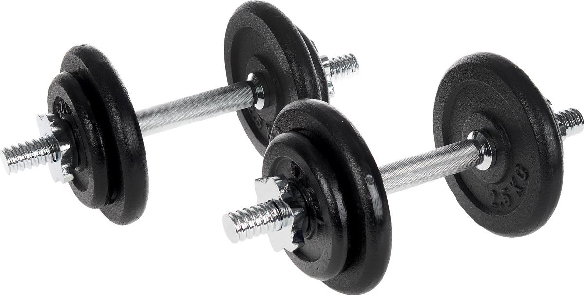 Гантель сборная Andy, с 8 сменными блинами, общий вес 18 кг, 2 штW-023Сборная гантель Andy состоит из 4 дисков и хромированного грифа. Гантель помогает укрепить мышцы рук, грудной клетки, верхней части спины и плеч. Благодаря небольшому размеру гантель удобно хранить, она не займет много места в квартире. Гантели поставляются с пластиковым кейсом для переноски и хранения. В комплекте 2 гантели. Внутренний диаметр дисков: 25 мм. В комплект входят 8 дисков: 4 х 1,25 кг, 4 х 2,5 кг. Длина грифа: 35 см. В комплекте замок-гайка: 4 шт. Общий вес гантель: 18 кг.