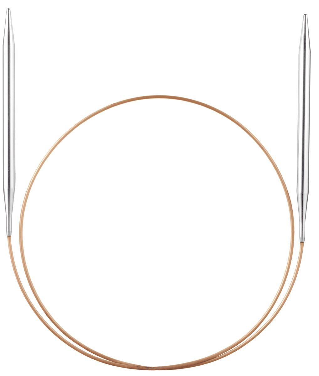 Спицы круговые Addi, супергладкие, диаметр 5,5 мм, длина 80 см105-7/5.5-80Спицы Addi, изготовленные из никеля, прекрасно подойдут для вязания изделий без швов. Короткими круговыми спицами вяжут бейки горловины, шапки и варежки, длинными спицами можно вязать по кругу целые модели, например, свитера и пуловеры. Полые и очень легкие спицы с удлиненным кончиком скреплены гибкой леской. Гладкое покрытие и тонкие переходы от спицы к леске позволяют пряже легче скользить. Малый вес изделия убережет ваши руки от усталости при вязании. Вы сможете вязать для себя, делать подарки друзьям. Работа, сделанная своими руками, долго будет радовать вас и ваших близких.