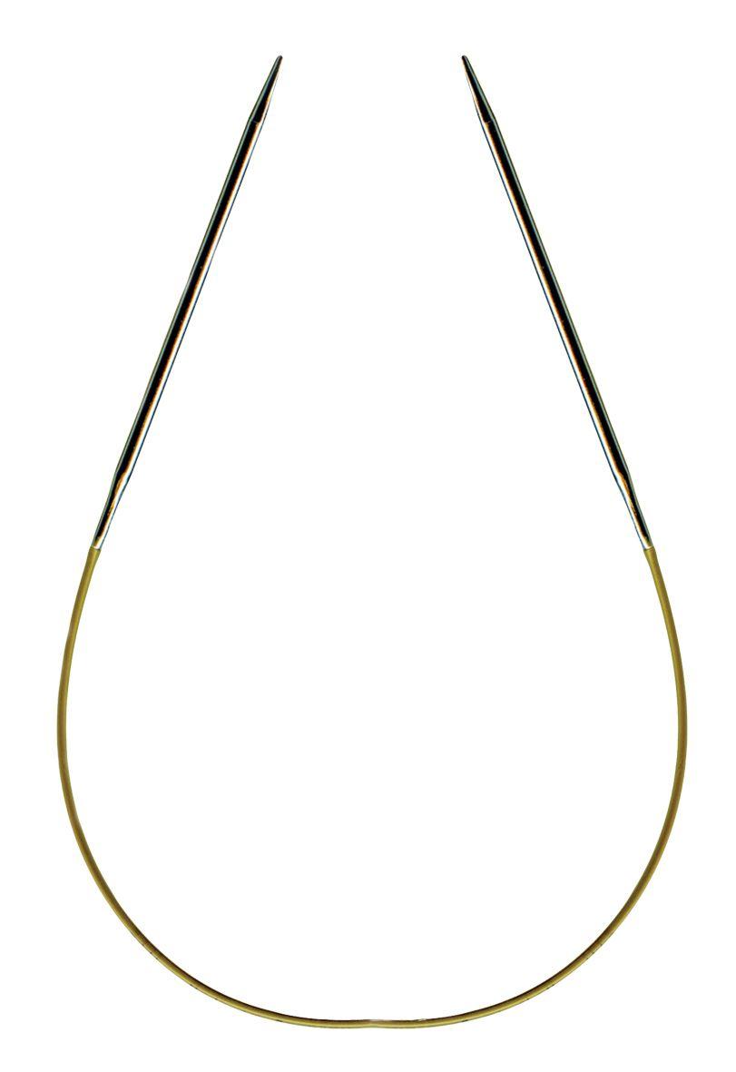 Спицы круговые Addi, супергладкие, диаметр 3,5 мм, длина 50 см105-7/3.5-50Спицы Addi, изготовленные из никеля, прекрасно подойдут для вязания изделий без швов. Короткими круговыми спицами вяжут бейки горловины, шапки и варежки, длинными спицами можно вязать по кругу целые модели, например, свитера и пуловеры. Полые и очень легкие спицы с удлиненным кончиком скреплены гибкой леской. Гладкое покрытие и тонкие переходы от спицы к леске позволяют пряже легче скользить. Малый вес изделия убережет ваши руки от усталости при вязании. Вы сможете вязать для себя, делать подарки друзьям. Работа, сделанная своими руками, долго будет радовать вас и ваших близких.