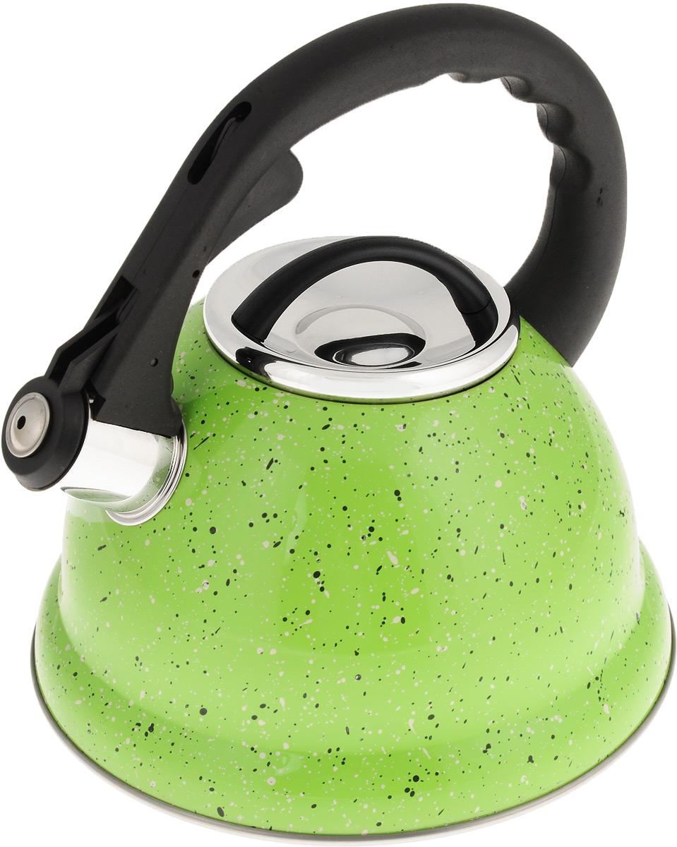 Чайник Mayer & Boch, со свистком, цвет: салатовый, черный, белый, 2,8 л. 2497524975Чайник Mayer & Boch выполнен из высококачественной нержавеющей стали, что делает его весьма гигиеничным и устойчивым к износу при длительном использовании. Носик чайника оснащен откидным свистком, звуковой сигнал которого подскажет, когда закипит вода. Свисток открывается нажатием кнопки на ручке. Фиксированная ручка, изготовленная из прочного пластика, делает использование чайника очень удобным и безопасным. Поверхность чайника гладкая, что облегчает уход за ним. Эстетичный и функциональный, такой чайник будет оригинально смотреться в любом интерьере. Подходит для всех типов плит, включая индукционные. Можно мыть в посудомоечной машине. Высота чайника (без учета ручки и крышки): 11,5 см. Высота чайника (с учетом ручки): 23 см. Диаметр чайника (по верхнему краю): 10 см.