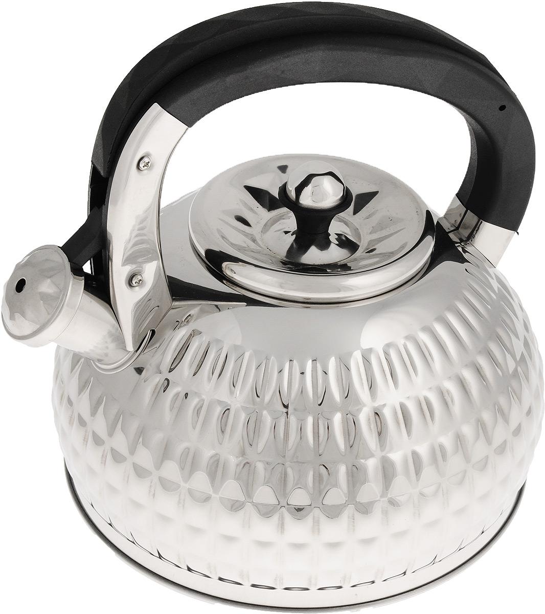 Чайник Mayer & Boch, со свистком, цвет: стальной, черный, 3 л. 2496524965Чайник Mayer & Boch выполнен из высококачественной нержавеющей стали, что обеспечивает долговечность использования. Яркий дизайн и рельеф придают изделию приятный внешний вид. Фиксированная ручка, выполненная из пластика, делает использование чайника очень удобным и безопасным. Чайник снабжен свистком и устройством для открывания носика, которое находится на ручке. Эстетичный и функциональный, с эксклюзивным дизайном, чайник будет оригинально смотреться в любом интерьере. Можно мыть в посудомоечной машине. Пригоден для всех типов плит, включая индукционные. Высота чайника (без учета крышки и ручки): 12,5 см. Высота чайника (с учетом ручки): 23 см. Диаметр по верхнему краю: 10 см.