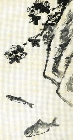 Набор для вышивания Марья Искусница Цветок, скала и две рыбки, 16 см х 30 см. 03.018.0403.018.04Набор для вышивания Цветок, скала и две рыбки по рисунку Бадашань Жэнь, канва Aida14 бежевый винтаж, мулине Finca 5цв. счетный крест 16х30 см . В наборах Марья Искусница используются только высококачественные материалы - канва Aida (Германия), мулине Finca (Испания). канва Aida14 бежевый винтаж, мулине Finca 5цв