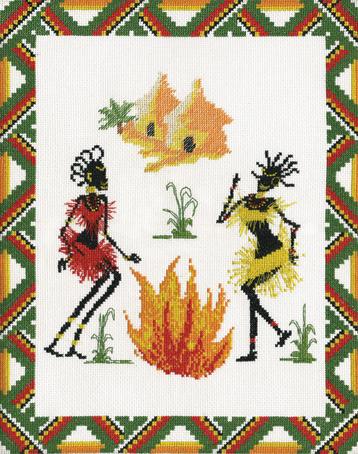 Набор для вышивания Марья Искусница Танец Африки, 30 см х 35 см. 09.003.0209.003.02Набор для вышивания Танец Африки, канва Aida 14 белая, мулине Finca 8 цв., счетный крест, 30х35 см серия Люди . канва Aida 14 белая, мулине Finca 8 цв.