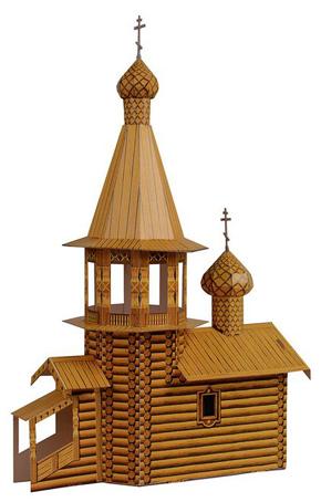 Набор из картона Умна бумага Церковь деревянная. 3939Степень сложности - старт. Детям до 5 лет не рекомендуется. Содержит мелкие детали. Конструкция собирается без ножниц и клея.