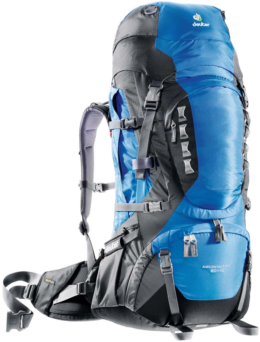 Рюкзак Deuter Aircontact PRO 60+15, цвет: темно-синий, серый, 75 л33823_3408Спортивный рюкзак идеально подходит для людей, предпочитающих пешие прогулки. Подвижные набедренные крылья отслеживают каждое ваше движение, помогая преодолевать самые сложные участки, не теряя равновесия. Эти крылья равномерно распределяют нагрузку на бедра, тем самым, экономя ваши силы и обеспечивая свободу движения. Особенности Deuter Aircontact PRO 60+15: Новая система Vari Flex с полной регулировкой Набедренный пояс с пряжкой Pull-forward Быстрый доступ к содержимому через переднюю молнию в форме полумесяца Внутренний компрессионный ремень Компрессионные ремни наверху рюкзака и на верхнем клапане для стабильности и большей свободы движения головы Карман на молнии для небольших ценных вещей на набедренном поясе Ярлык SOS Компрессионные ремни на три стороны Боковые складчатые карманы для размещения добавочного багажа или питьевой системы Streamer Внешние карманы для колышек от палатки Большие боковые карманы в...