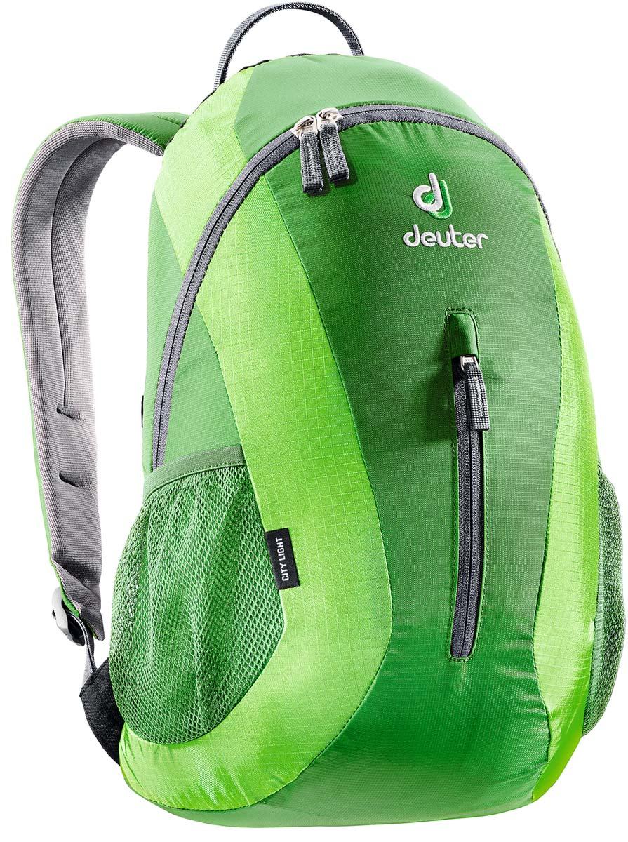 Рюкзак спортивный Deuter Daypacks City Light, цвет: изумрудный, зеленый, 16 л80154_2215Сверхпрочный, хорошо организованный рюкзак разработан специально для людей, которые регулярно ездят в школу, университет или в офис. Для любитель быстрой езды, рюкзак для велосипеда снабжен набедренным поясом для плотного прилегания к спине. Особенности Deuter City Light: система подвески Airstripes анатомические мягкие плечевые лямки удобный доступ в основное отделение с помощью двусторонней u-образной молнии внутренний карман для документов передний карман на молнии боковые сетчатые карманы отражатель 3M.