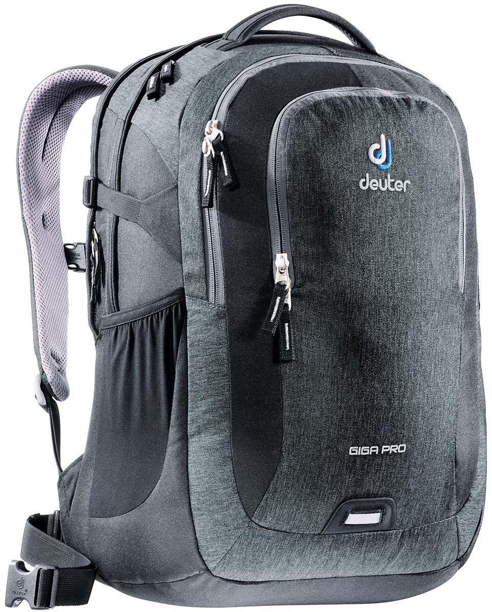 Рюкзак Deuter Daypacks Giga Pro, цвет: черный, серый, 31 л80434_7712Городской рюкзак Deuter Giga Pro правильный выбор для тех, кто ищет профессиональный рюкзак: все принадлежности идеально расположены и защищены. Имеется специальное мягкое съемное отделение для ноутбука. Система спинки Airstripes, большое основное отделение, в котором помещаются папки для бумаг , дно имеет мягкую подкладку, компрессионные стропы, удобная ручка для переноски, большой передний карман на молнии с органайзером, съемный набедренный ремень, петля с отражателем, второе основное отделение, со съемной мягкой сумкой под ноутбук 15,6 дюймов, боковой сетчатый карман.