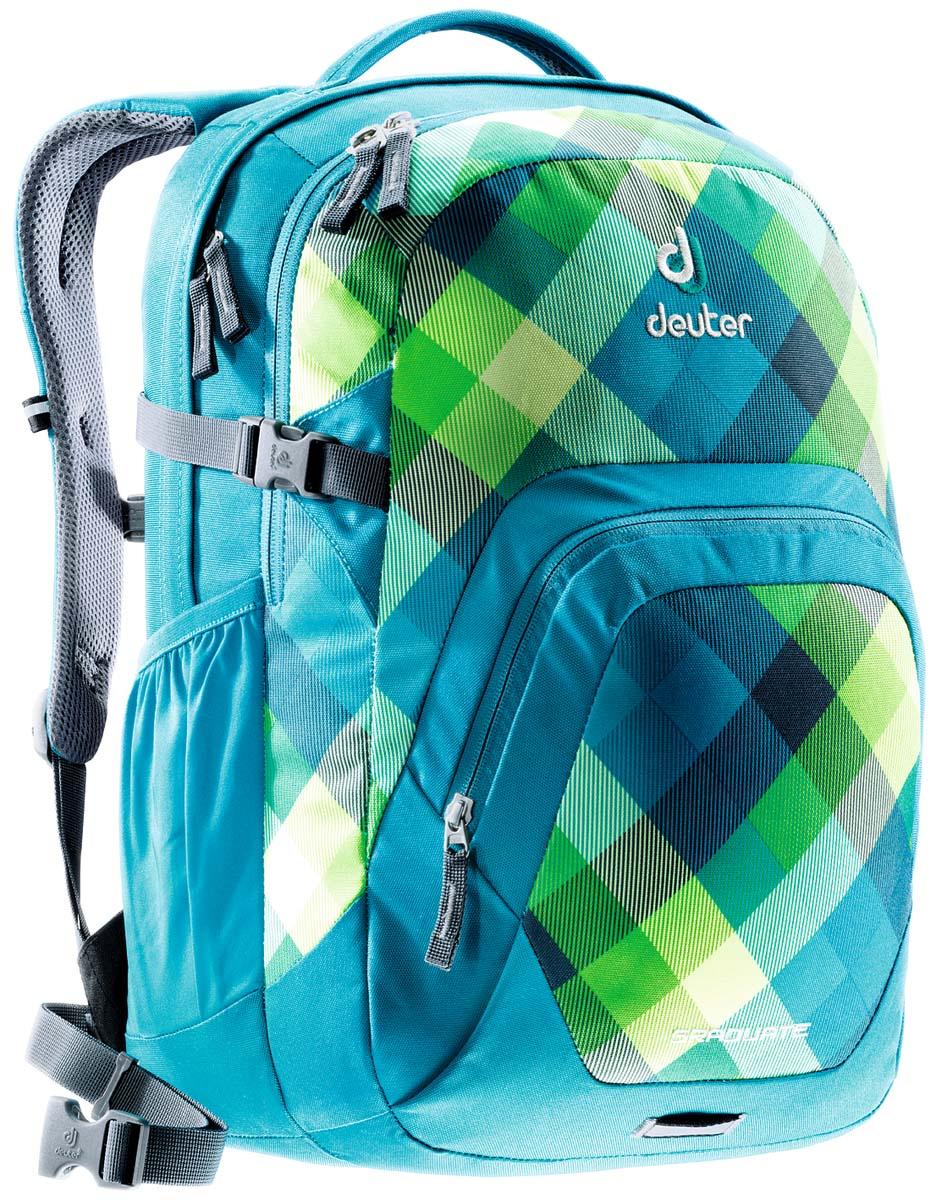 Рюкзак Deuter Daypacks Graduate, цвет: бирюзовый, 28л80232_3216Новый рюкзак для работы, школы или университета. Загрузите его тяжелыми книгами, большими папками, обедом и ноутбуком - выпускник получает все. Анатомически сформирован так, что бы любой с легкостью мог есть носить. Вес: 940 гр Объем: 28 л Размер: 48 х 33 х 23 (В x Ш x Д) см