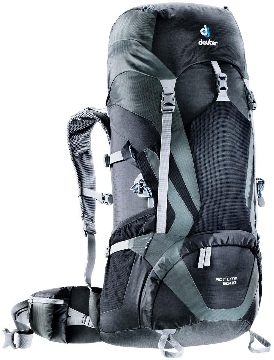 Рюкзак Deuter Aircontact Lite ACT Lite 50+10, цвет: черный, темно-серый, 60л3340315_7410Обтекаемый, вместительный рюкзак. Предназначен для туристических походов и альпийский восхождений. Модели ACT Lite имеюттехнический дизайн и большой набор полезных опций. Плеченые лямки двухслойной конструкциис мягкой пеной имеют точную анатомическую форму. Отдельный нижний отсек. Двухслойное усиленное дно. СОвместимость с питьевой системой. Петли для крепелния шлема.Петли для крепления ледоруба.