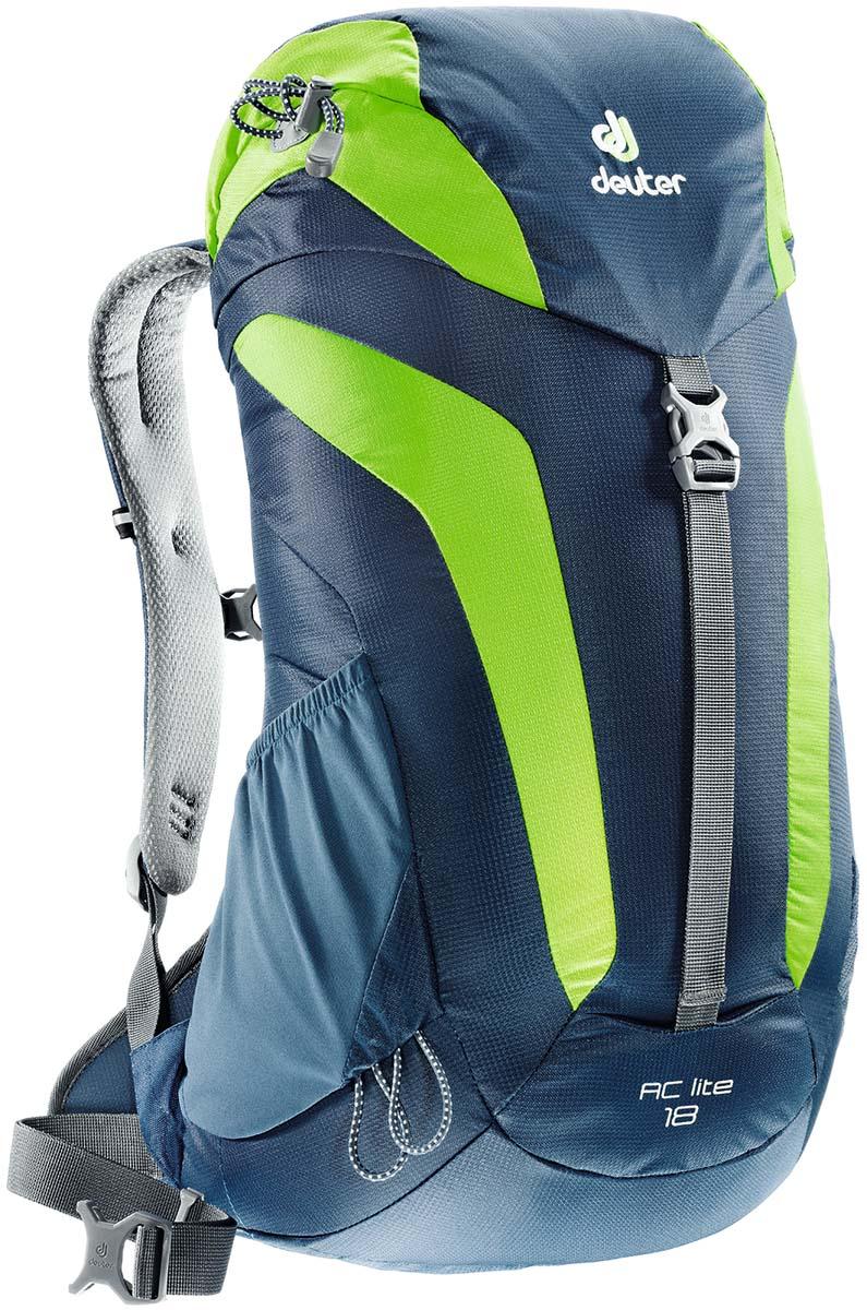 Рюкзак Deuter AC Lite 18, цвет: светло-голубой, светло-зеленый, 18л3420116_3206Компактный, спортивный рюкзак. Система подвески AirComfort с великолепной вентиляцией и легкие материалы в конструкции делают рюкзаки настолько удобными что вы забудете что у вас за спиной рюкзак.