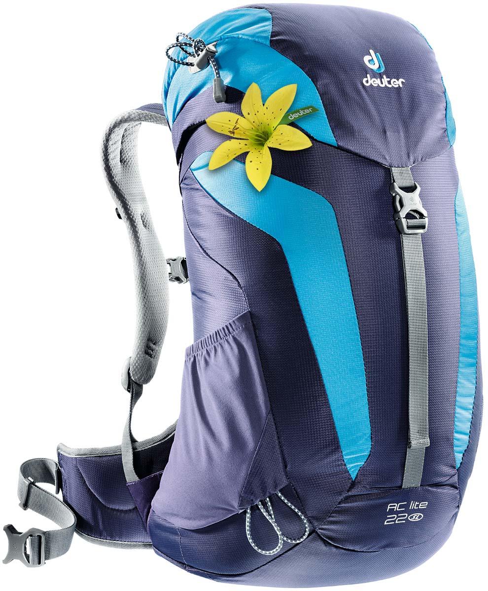 Рюкзак Deuter AC Lite 22 SL, цвет: темно-синий, бирюзовый, 22 л3420216_3349Компактный, спортивный рюкзак идеально подходит для женщин, предпочитающих пешие прогулки. Система подвески AirComfort с великолепной вентиляцией и легкие материалы в конструкции делают рюкзак настолько удобными, что вы забудете, что у вас за спиной рюкзак. Петли для трекинговых палок, мягкие крылья пояса (22 SL & 26), система Aircomfort, мягкие лямки анатомической формы, карман в клапане, внутренние карманы на молниях, практичный замок на клапане, светоотражающие элементы, боковые эластичные карманы, Совместимость с питьевой системой интегрированный, съемный чехол от дождя, светоотражатель на фиксаторе питьевой трубки. Система спины Deuter Aircomfort System Плечевые лямки имеют анатомическую форму, подбиты мягкой подкладкой. Прочный упругий стальной каркас обеспечивает гибкость и легкость конструкции, а также натягивает вентиляционную сетку. Прочная сетка Aircomfort обеспечивает удобство и...