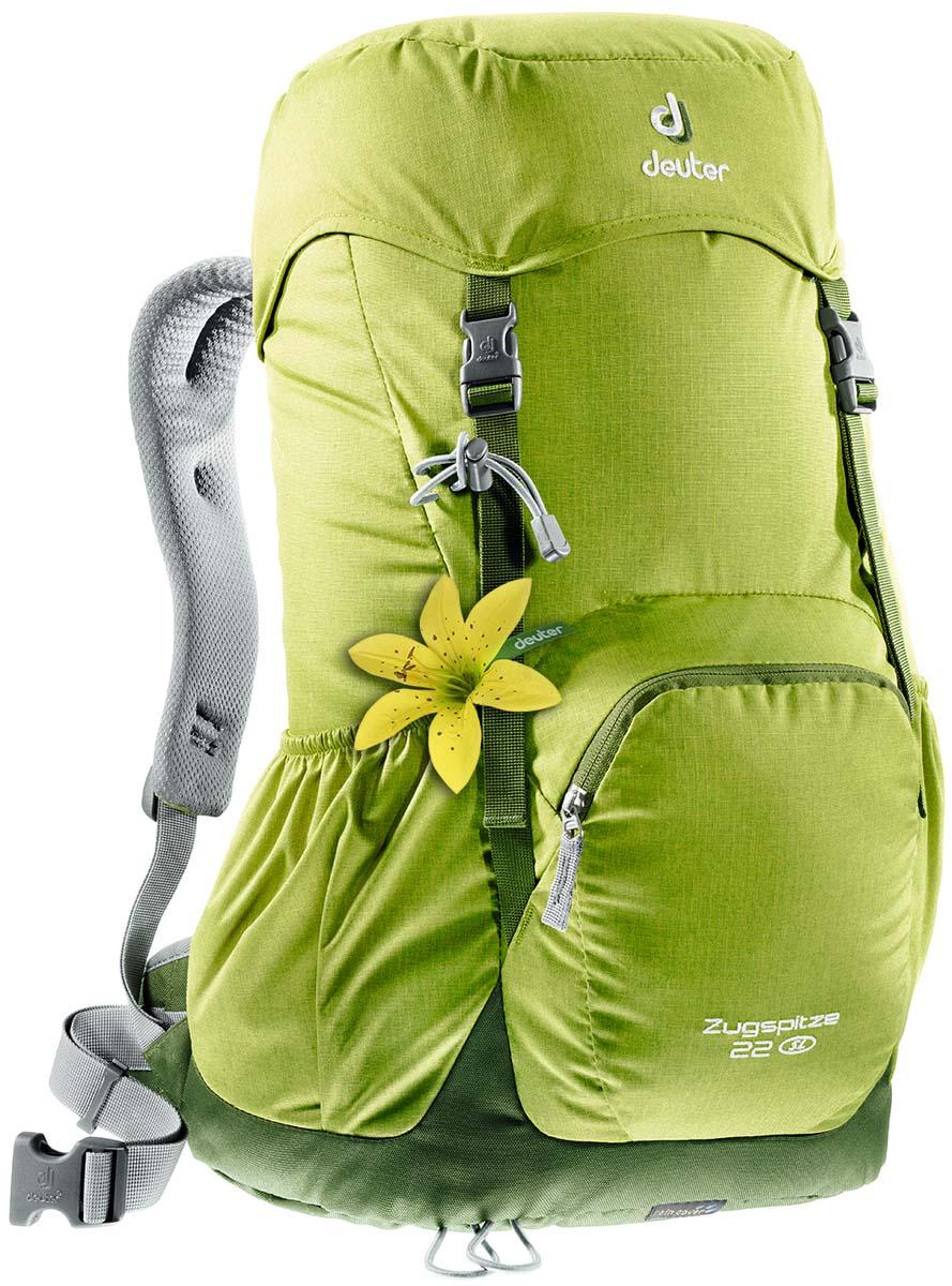 Рюкзак Deuter Zugspitze 22 SL, цвет: зеленый, светло-зеленый, 24л3430016_2270Классический рюкзак. Эту модель Deuter выпускает с 1984 года, каждый год внося в конструкцию усовершенствования, используя современные материалы. набедренный пояс с вентилируемой подкладкой, анатомические плечевые лямки с мягкими краями две застежки на клапане, под клапаном можно надежно уложить дополнительное снаряжение, карман в верхнем клапане,два боковых сетчатых кармана и передний карман, петли для телескопических палок, встроенный съемный чехол от дождя