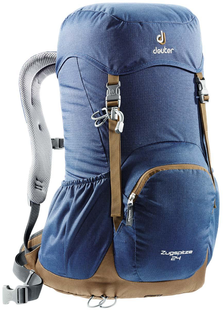 Рюкзак Deuter Zugspitze 24, цвет: синий, коричневый, серый, 24 л3430116_3608Классический рюкзак. Эту модель Deuter выпускает с 1984 года, каждый год внося в конструкцию усовершенствования, используя современные материалы. набедренный пояс с вентилируемой подкладкой, анатомические плечевые лямки с мягкими краями две застежки на клапане, под клапаном можно надежно уложить дополнительное снаряжение, карман в верхнем клапане,два боковых сетчатых кармана и передний карман, петли для телескопических палок, встроенный съемный чехол от дождя