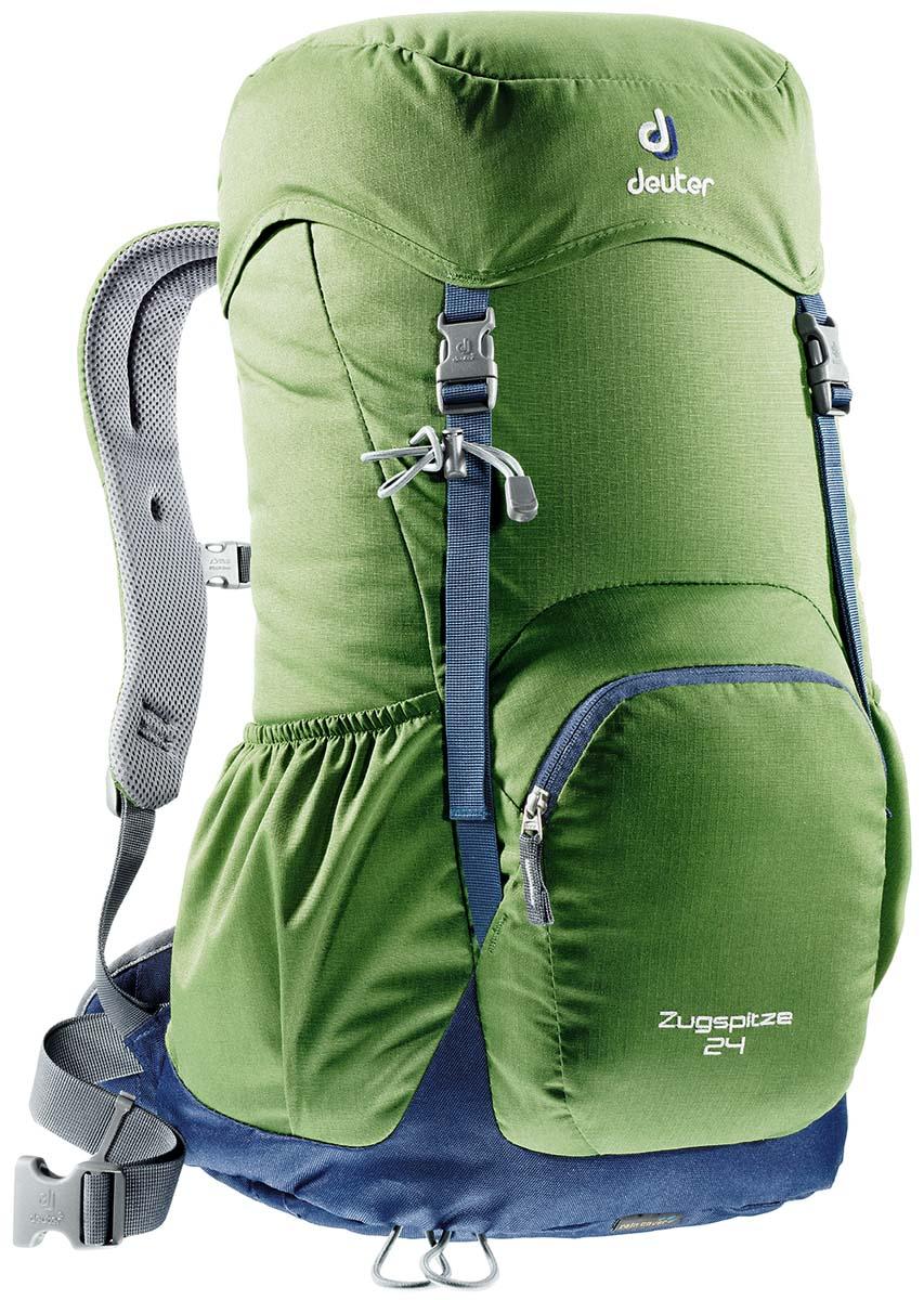 Рюкзак Deuter Zugspitze 24, цвет: светло-зеленый, темно-синий, 24л3430116_2312Классический рюкзак. Эту модель Deuter выпускает с 1984 года, каждый год внося в конструкцию усовершенствования, используя современные материалы. набедренный пояс с вентилируемой подкладкой, анатомические плечевые лямки с мягкими краями две застежки на клапане, под клапаном можно надежно уложить дополнительное снаряжение, карман в верхнем клапане,два боковых сетчатых кармана и передний карман, петли для телескопических палок, встроенный съемный чехол от дождя