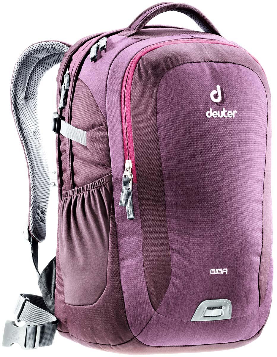 Рюкзак Deuter Giga, цвет: сливовый, темно-серый, 28л80414_5032Рюкзак для учебы и офиса с множеством карманов и отделением для ноутбука 15. Спинка системы Airstripes обеспечивает вентиляцию и надежное прилегание к спине.