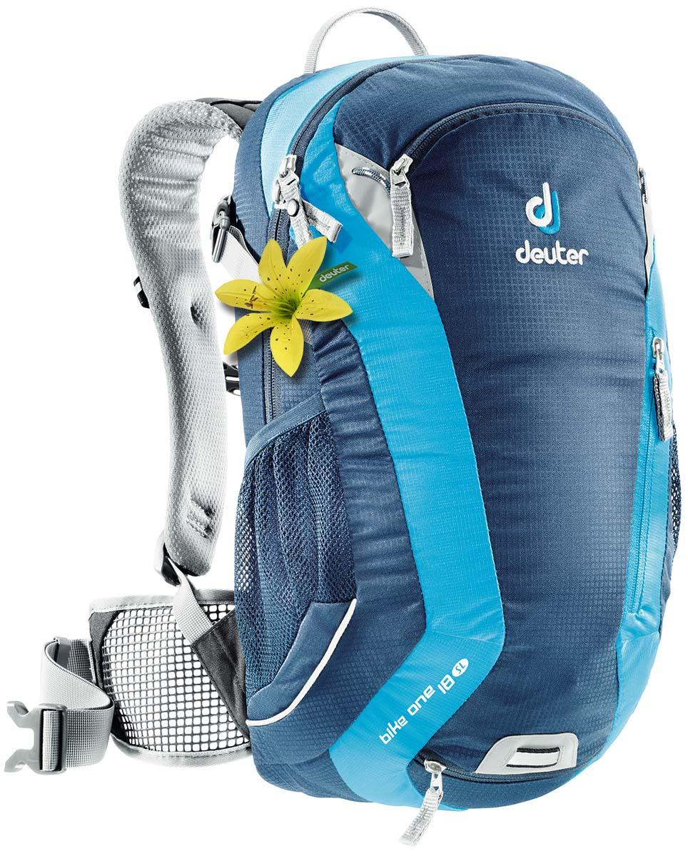 Рюкзак спортивный Deuter Bike One 18 SL, цвет: светло-голубой, бирюзовый, 18 л32052_3306Классический рюкзак идеально подходит для людей, предпочитающих вело-прогулки. Особенности велорюкзака Deuter Bike One 18 SL: съёмный держатель для шлема компрессионые ремни наружние карманы два внутренних кармана боковые сетчатые карманы карман для влажной одежды отражатели 3M фиксаторы для питьевой системы набедренный пояс с сетчатыми крыльями анатомические плечевые лямки петля для крепления ночного габаритного фонарика Safety Blink.