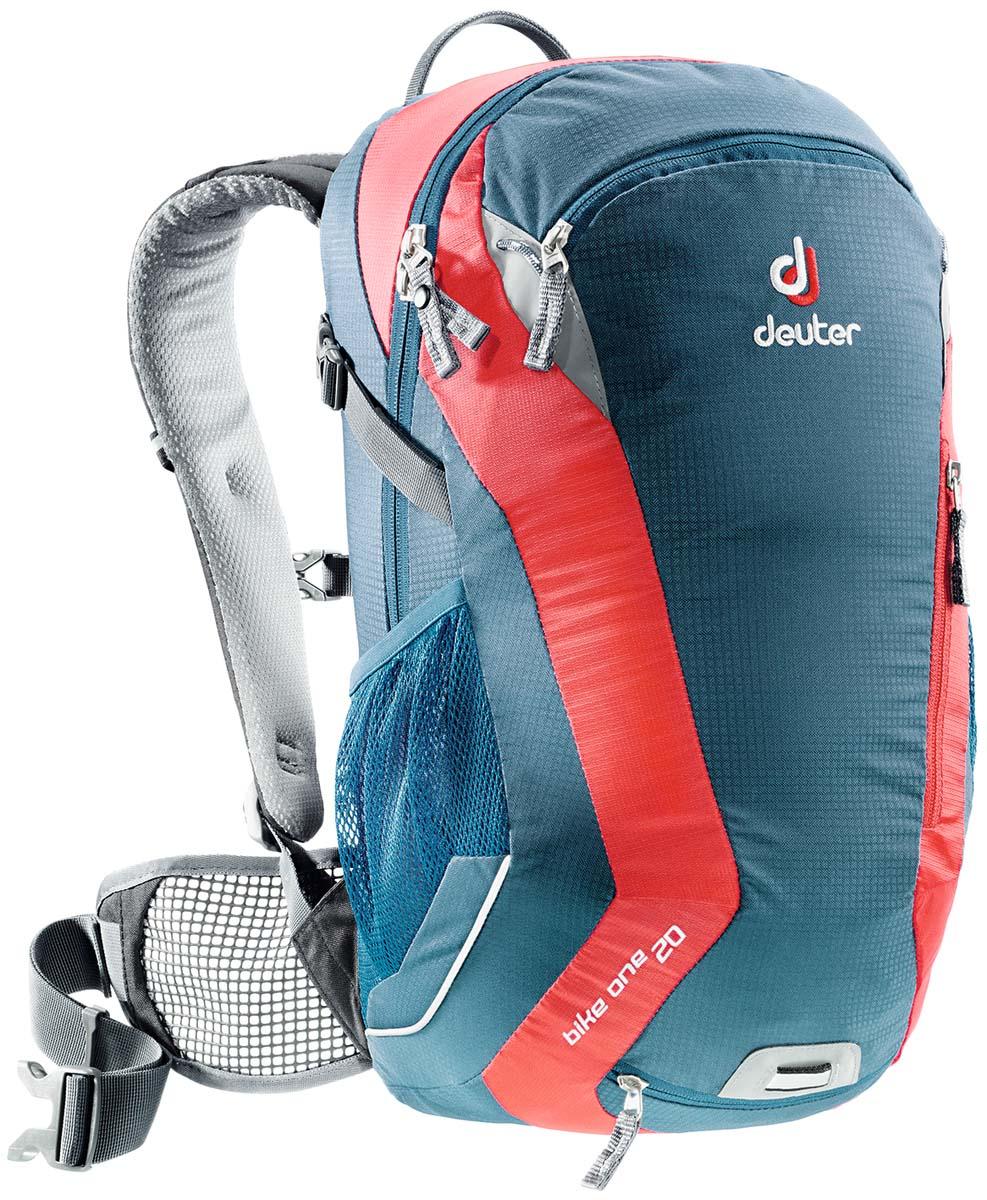 Рюкзак спортивный Deuter Bike One 20, цвет: голубой, серый, красный, 20 л32082_3514Классический рюкзак идеально подходит для людей, предпочитающих вело-прогулки. Особенности Deuter Bike One 20: съёмный держатель для шлема компрессионые ремни наружние карманы два внутренних кармана боковые сетчатые карманы карман для влажной одежды отражатели 3M фиксаторы для питьевой системы набедренный пояс с сетчатыми крыльями анатомические плечевые лямки петля для крепления ночного габаритного фонарика Safety Blink чехол от дождя Размеры: 50 x 26 x 20 см